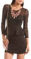 Charlotte Russe Mesh Inset Scuba Peplum Dress