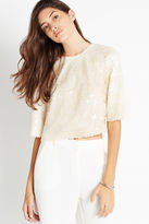 BCBGeneration Zip Back Sequin Boxy Top - Tan