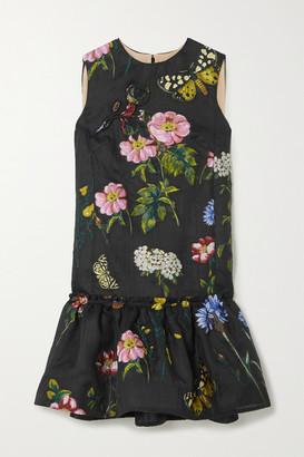 Oscar de la Renta Ruffled Fil Coupe Silk-blend Dress - Black