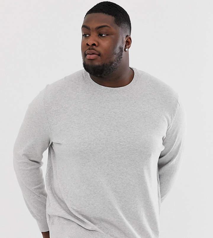 433b5bf947a Menswear Big & Tall crew neck jumper in light grey