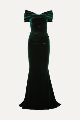 Talbot Runhof Bobonne Off-the-shoulder Ruched Stretch-velvet Gown - Dark green
