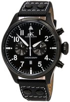 Adee Kaye AK7234-MIPB Men's Chronograph Ion Plated Leather Strap Watch