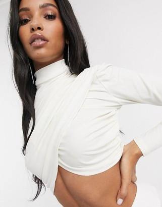 Significant Other momentary ruched long sleeve crop top