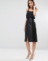 Oasis Leather Look & Suedette A-Line Midi Skirt