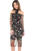 AX Paris T-Bar Long Sleeve Embroidered Floral Choker Dress With ? Mesh Sleeves