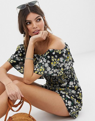 Asos DESIGN off shoulder ruffle romper with shirring in ditsy floral
