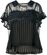 Sacai stripe layered camisole blouse - women - Nylon/Polyester/Cupro - S