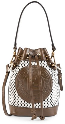 Fendi Mini Mon Tresor Perforated Leather Bucket Bag