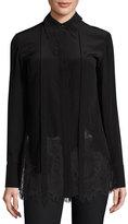 McQ by Alexander McQueen Long-Sleeve Fluid Silk Blouse, Black