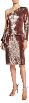 Aidan Mattox Sequin One-Shoulder Peplum Cocktail Dress