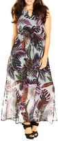 City Chic Plus Size Women's 'Jungle Kiss' Print Chiffon Halter Style Maxi Dress