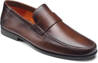 Santoni Men's Paine Whipstitched Leather Loafers