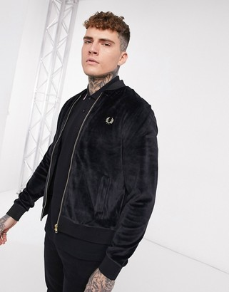 Fred Perry gold detail velour bomber jacket in black