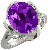 Gem Stone King 4.24 Ct Oval Purple Amethyst and White Diamond 14k White Gold Ring