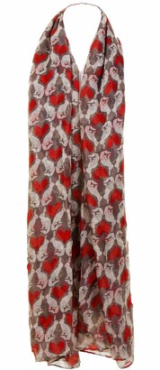 Fashion Scarves Ladies Fashion Scarf Sarong Shawl Stole Pashmina with Rabbits and Hearts Print In Navy and Red. Sheer Lightweight Fabric.