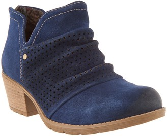Earth Origins Suede Booties w/ Perforated Ruching - Amanda