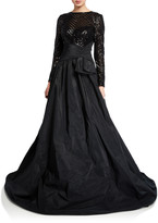 Rickie Freeman For Teri Jon Beaded Lace-Bodice Long-Sleeve Taffeta Gown