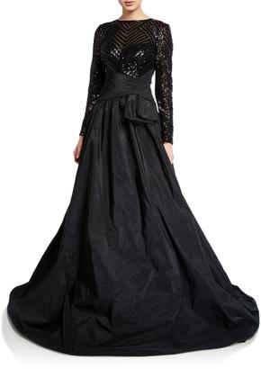 Rickie Freeman For Teri Jon Beaded Lace-Bodice Long-Sleeve Taffeta Gown