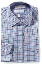 Roundtree & Yorke Gold Label Checked Classic Fitted Checked Twill Dress Shirt