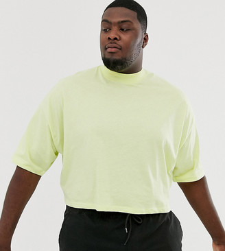 Asos Design DESIGN Plus oversized crop t-shirt with mid sleeve and high neck in pale yellow-Green