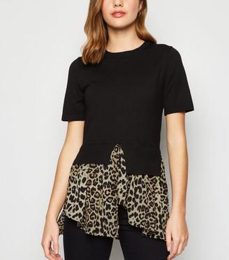 New Look Leopard Print Hem 2-In-1 Top