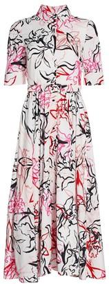 Badgley Mischka Vaca Floral Print Shirt Dress