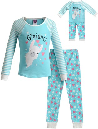 Dollie & Me Girls 4-14 Knit Snug Fit Top with Pants and Doll 4-Pc. Set