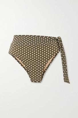 Evarae Yasmeen Knotted Printed Bikini Briefs - Sage green