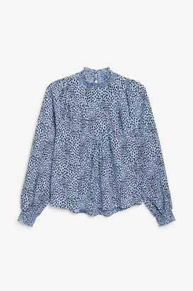 Monki Shirred neck blouse