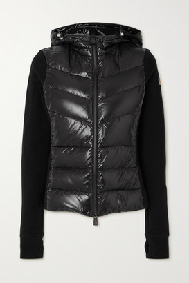 MONCLER GRENOBLE Maglia Hooded Quilted Shell And Jersey Down Jacket - Black