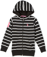 U.S. Polo Assn. Black Stripe Zip-Up Hoodie - Girls
