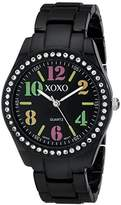 XOXO Women's XO5485 Rhinestone Accent Black Analog Bracelet Watch