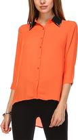 Orange Button-Front Hi-Lo Top