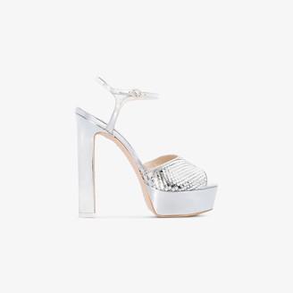 Sophia Webster Silver Natalia 140 platform sandals