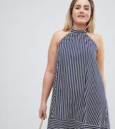 Asos DESIGN Curve halter swing sundress in cut about stripe