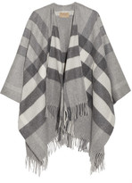 Burberry London Checked Cashmere And Merino Wool-blend Wrap - Gray
