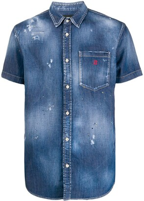 DSQUARED2 Distressed Short Sleeved Denim Shirt