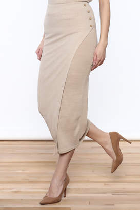 Moon River Beige Knit Midi Skirt