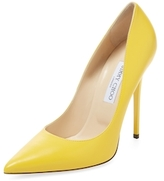 Jimmy Choo Anouk Pointed-Toe Leather Pump