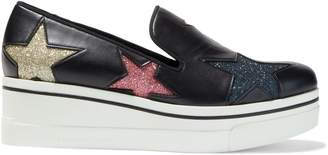 Stella McCartney Binx Star Cutout Glittered Faux Leather Platform Slip-on Sneakers