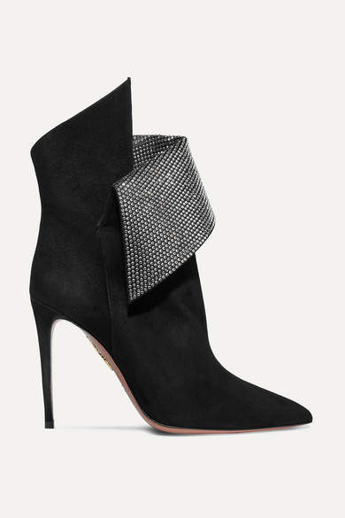 Aquazzura Night Fever Crystal-embellished Suede Ankle Boots - Black