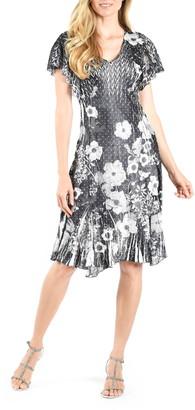 Komarov Pleated Flutter Sleeve Charmeuse Dress