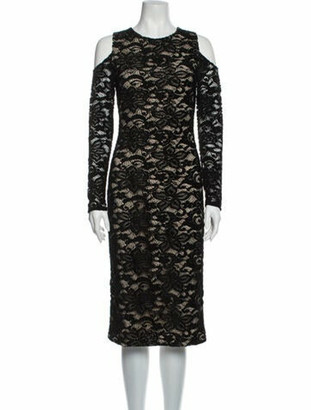Alice + Olivia Lace Pattern Midi Length Dress w/ Tags Black