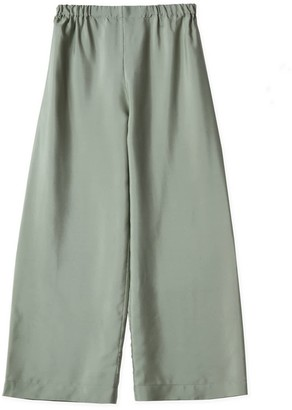 Oyuna Rana Cropped Green Mist Silk Trousers
