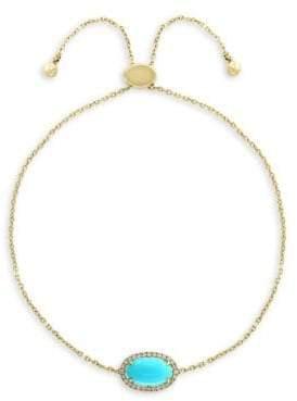 Effy 14K Yellow Gold, Diamond & Turquoise Bracelet