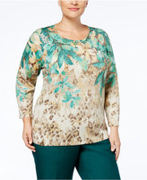 Alfred Dunner Plus Size Emerald Isle Collection Printed Embellished Sweater