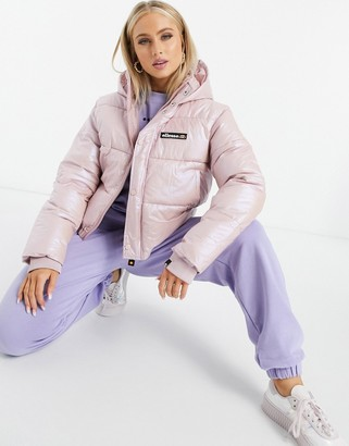 Ellesse Cropped Puffer Jacket In Pearlescent