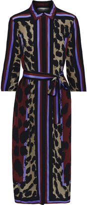 Diane von Furstenberg Sogol Belted Printed Silk Crepe De Chine Shirt Dress