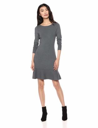 Lark & Ro Women's Long Sleeve Ruffle Skirt Sweater Dress