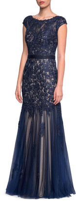 La Femme Bateau-Neck Cap-Sleeve Lace Gown w/ Belted Waist
